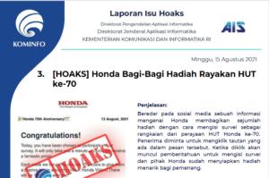 Isu Hoaks 15 Agustus 2021