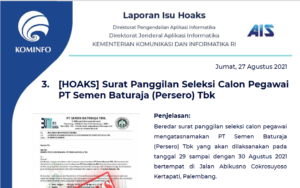 Isu Hoaks 27 Agustus 2021