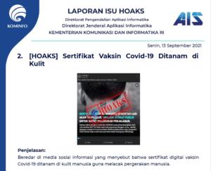 Isu Hoaks 13 September 2021
