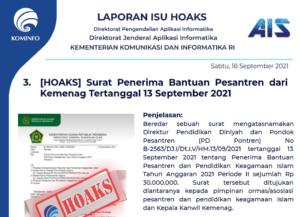 Isu Hoaks 18 September 2021