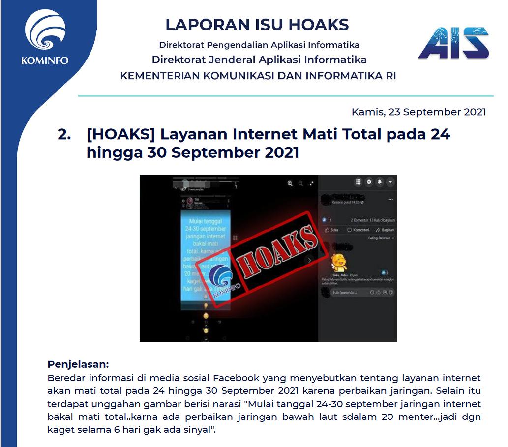 Isu Hoaks 23 September 2021