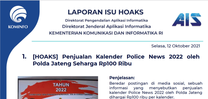 Isu Hoaks 12 Oktober 2021